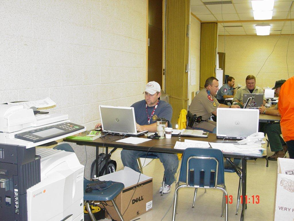 Lap tops set up in the shelters, allowing communications.
